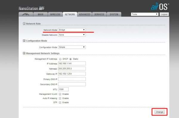 Окно настроек NETWORK для маршрутизатора Ubiquiti NanoStation M5 (базовая станция)