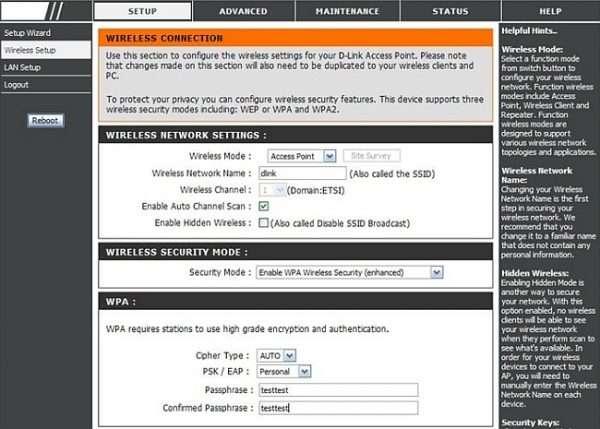 Настройки клиента DIR-655 с раздачей по Wi-Fi