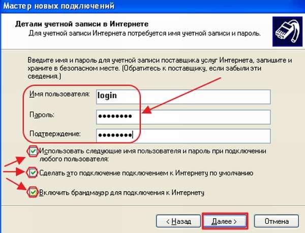Ввод имени пользователя и пароля в Windows XP