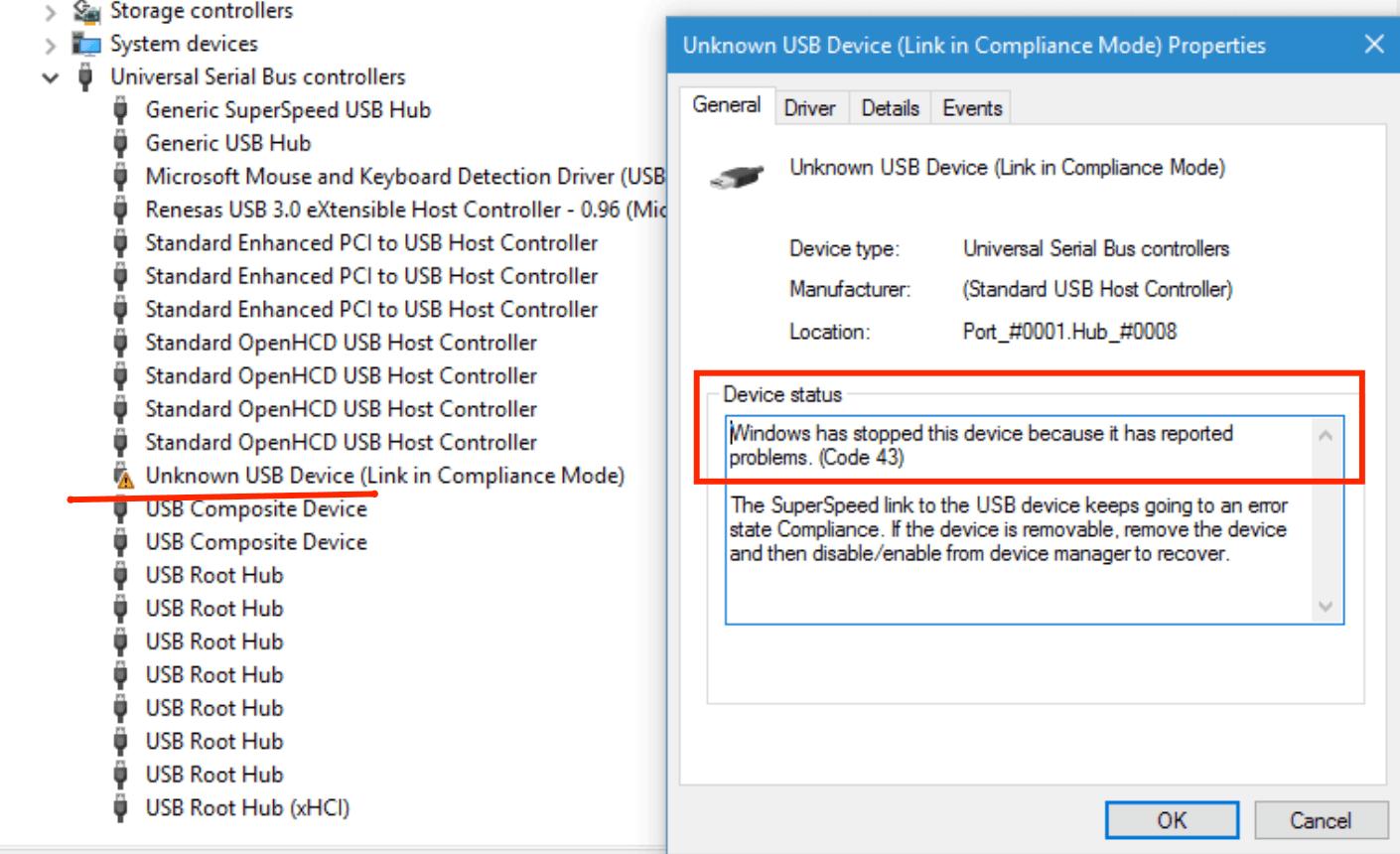 Ошибка Устройство USB не опознано