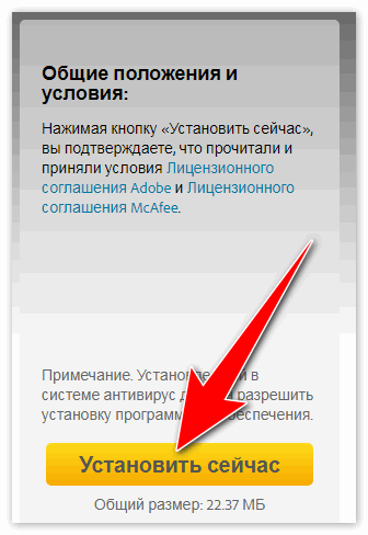 Установить сейчас Flash Player
