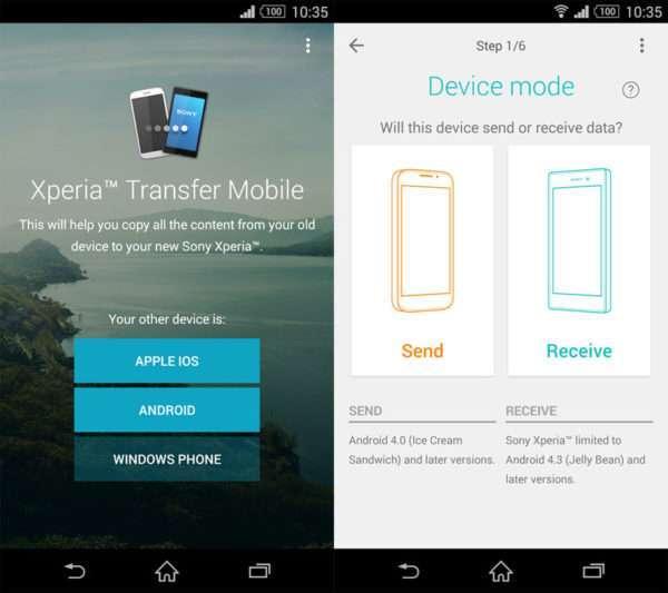 Xperia Transfer для переноса контактов