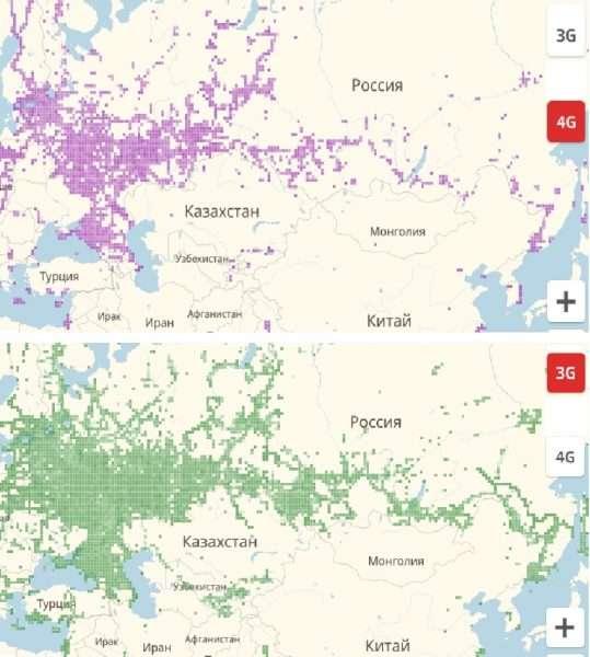Зоны покрытия сетей 4G и 3G на территории России