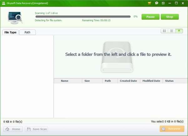 Процесс сканирования и поиска удалённых файлов с флешки программой PC Inspector File Recovery