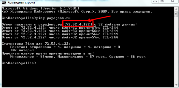 IP адрес сайта в окне «Командная строка»
