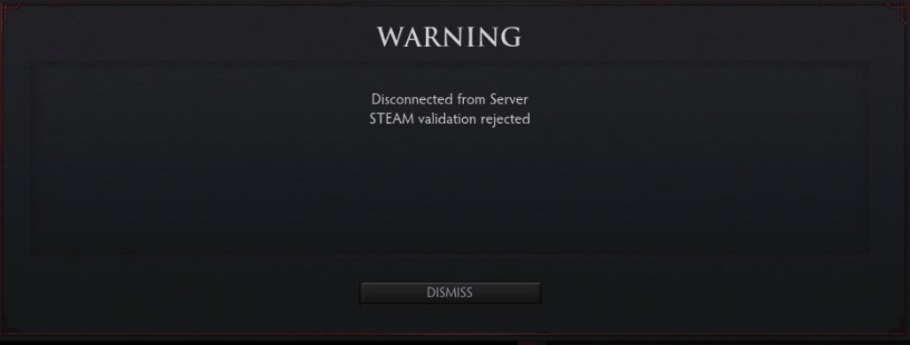 Предупреждение Steam Validation Rejected