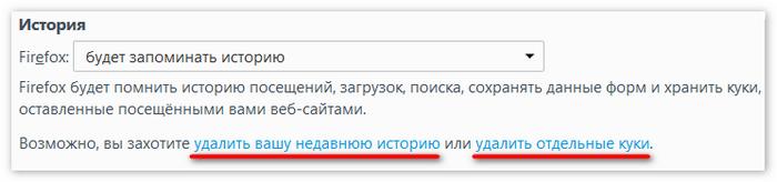 Очистка «куки» и «кэша» в Firefox