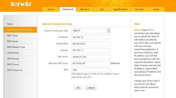 Статичные IP-адреса на Tenda F300