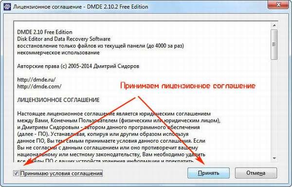 Принимаем условия лицензии DMDE