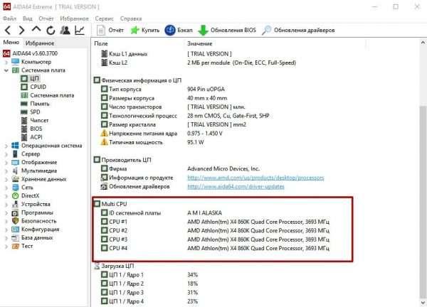 Блок Multi CPU в утилите AIDA64