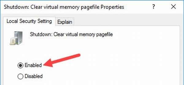 Включение режима очистки файла подкачки Windows 10 при выключении ПК