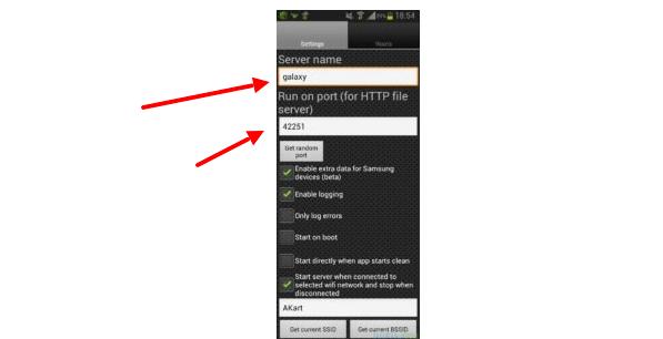 Назначение имени сервера в устройстве на ОС Android